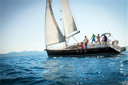 sailboat  ocean - Young people sailing together, Adriatic Sea, Croatia Stock Photo - Premium Royalty-Free, Code: 6115-07539679