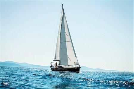 sailboat  ocean - Young people sailing together, Adriatic Sea, Croatia Stock Photo - Premium Royalty-Free, Code: 6115-07539680
