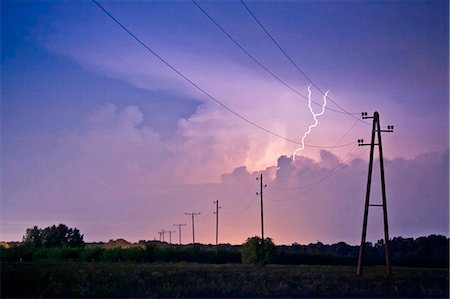 storm lightning - Lightning strike over Power Line, Baranja, Croatia Stock Photo - Premium Royalty-Free, Code: 6115-08066654