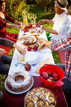 Family having a picnic in the garden, Munich, Bavaria, Germany Stock Photo - Premium Royalty-Free, Code: 6115-08100672