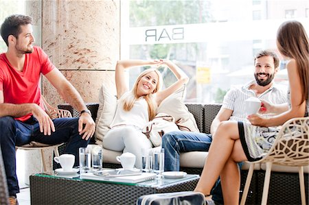 european cafe bar - Group of students taking a break in cafe bar Stock Photo - Premium Royalty-Free, Code: 6115-08101133