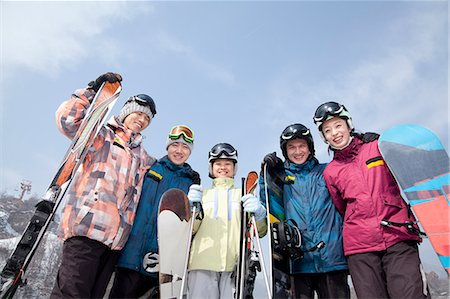 sports and snowboarding - Group of Snowboarders in Ski Resort, low angle view Stock Photo - Premium Royalty-Free, Code: 6116-07086600