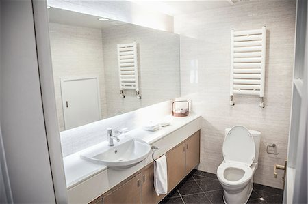 Modern, clean, bathroom with toilet and sink. Stock Photo - Premium Royalty-Free, Code: 6116-07235705