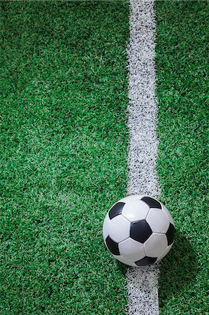 Soccer field with soccer ball and line Stock Photo - Premium Royalty-Free, Code: 6116-07236128