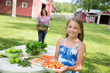 preteen touch - Family Party. A Child Carrying A Bowl Of Fresh Picked Cherries To A Buffet Table. Stock Photo - Premium Royalty-Free, Code: 6118-07122178