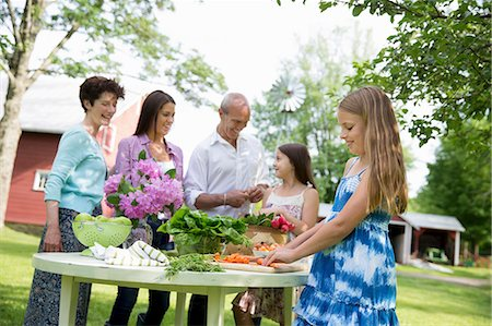 Family Party. Five People Gathered Around A Table Preparing Fresh Salads And Fruit For A Party. Two Girls, One Young Woman And A Mature Couple. Stock Photo - Premium Royalty-Free, Code: 6118-07122183