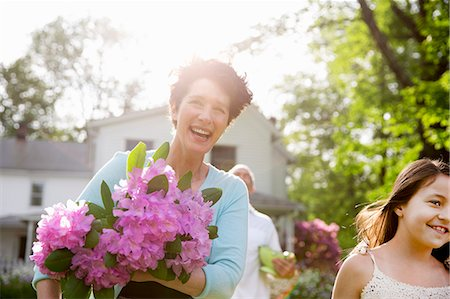 front - Family Party. A Woman Carrying A Large Bunch Of Rhododendron Flowers, Smiling Broadly. Stock Photo - Premium Royalty-Free, Code: 6118-07122197