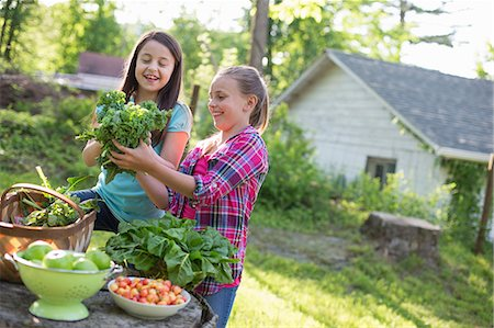 Organic Farm. Summer Party. Two Young Girls Preparing Salads. Stock Photo - Premium Royalty-Free, Code: 6118-07122130