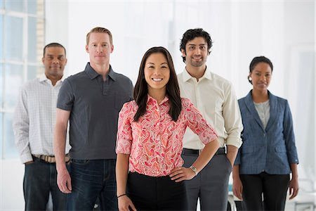 five people - Business. A Team Of People, A Multi Ethnic Group, Men And Women In A Group. Stock Photo - Premium Royalty-Free, Code: 6118-07122577
