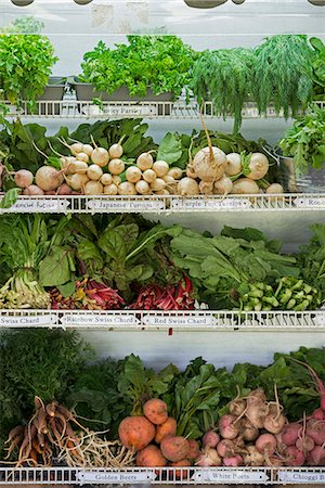 supermarket not people - A farm stand with rows of freshly picked vegetables for sale. Stock Photo - Premium Royalty-Free, Code: 6118-07202987