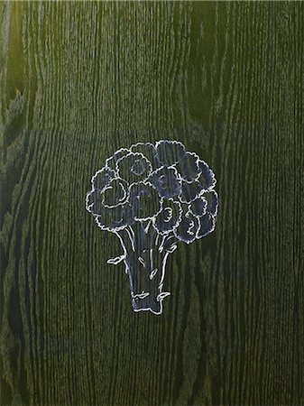 framed (photographic border showing) - A line drawing image on a natural wood grain background.  A head of broccoli, florets and stem. Stock Photo - Premium Royalty-Free, Code: 6118-07353992