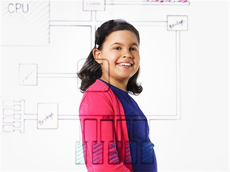 drawing computer - A young girl looking at a drawing of a computer motherboard circuit drawn on a see through clear surface. Stock Photo - Premium Royalty-Free, Code: 6118-07354253