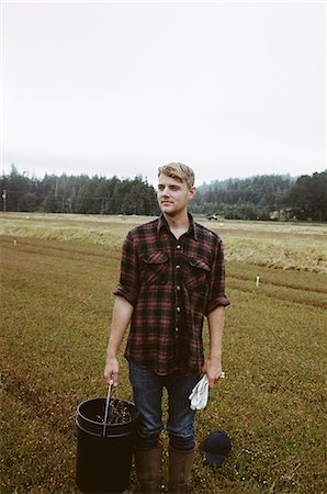 A cranberry farm in Massachusetts. Crops in the fields. A young man working on the land, harvesting the crop. Stock Photo - Premium Royalty-Free, Code: 6118-07354709