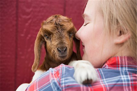 preteen kissing - A girl cuddling a baby goat. Stock Photo - Premium Royalty-Free, Code: 6118-07731891