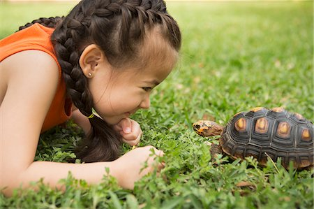 A girl lying on the grass looking at a tortoise. Stock Photo - Premium Royalty-Free, Code: 6118-08081854