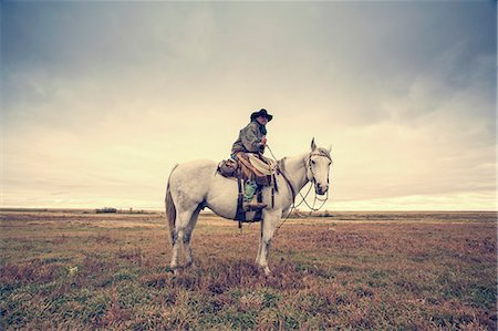 A working cowboy seated on a grey horse. Stock Photo - Premium Royalty-Free, Code: 6118-08023773