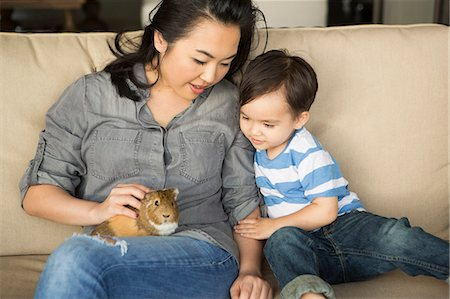 Smiling woman sitting on a sofa, a guinea pig sitting on her lap, her young son watching. Stock Photo - Premium Royalty-Free, Code: 6118-08202554