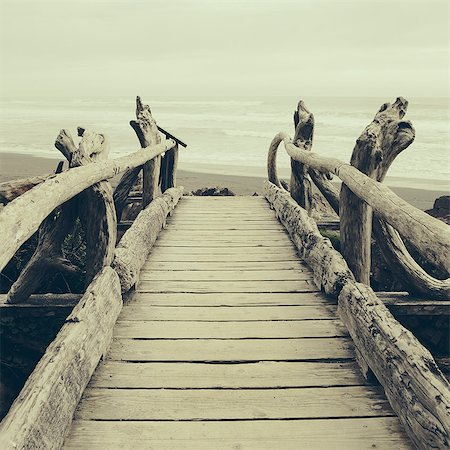 Driftwood log bridge facing Pacific Ocean near Kalaloch on the shore of Olympic National Park. Stock Photo - Premium Royalty-Free, Code: 6118-08659929