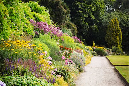 Footpath along a mixed border of flowers at Waterperry Gardens in Oxfordshire. Stock Photo - Premium Royalty-Free, Code: 6118-08797557