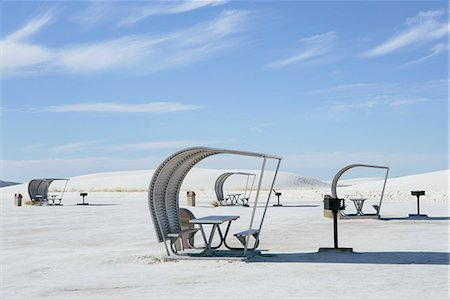 Picnic tables and shelters at White Sands National Park Stock Photo - Premium Royalty-Free, Code: 6118-08860555