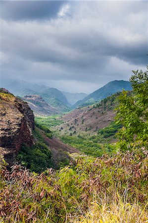 Hanapepe Valley lookout, Kauai, Hawaii, United States of America, Pacific Stock Photo - Premium Royalty-Free, Code: 6119-07443843