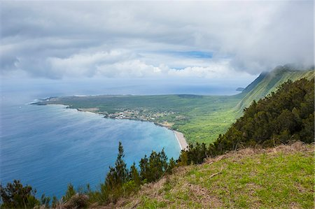 Kalaupapa viewpoint on the island of Molokai , Hawaii, United States of America, Pacific Stock Photo - Premium Royalty-Free, Code: 6119-07443881
