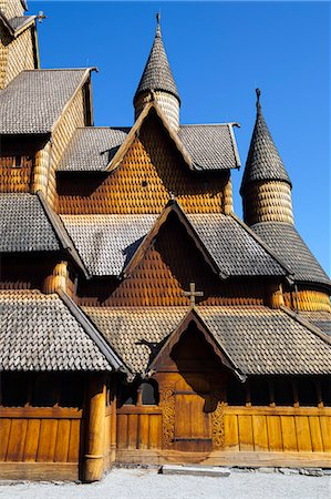 stave - The impressive exterior of Heddal Stave Church, Norway's largest wooden Stavekirke, Notodden, Telemark, Norway, Scandinavia, Europe Stock Photo - Premium Royalty-Free, Code: 6119-07451541