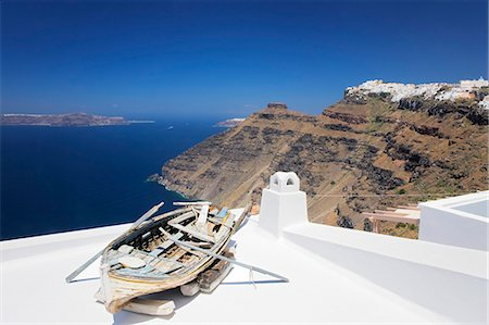 View from Firostefani to Imerovigli, Santorini, Cyclades, Aegean Sea, Greek Islands, Greece, Europe Stock Photo - Premium Royalty-Free, Code: 6119-07451872