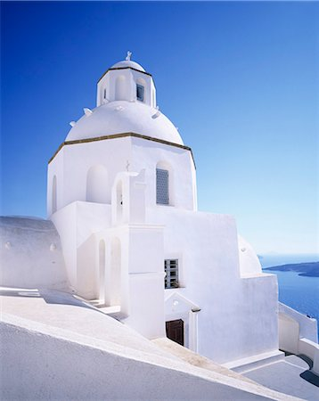 Greece Orthodox church, Fira, Santorini, Cyclades, Aegean Sea, Greek Islands, Greece, Europe Stock Photo - Premium Royalty-Free, Code: 6119-07451883