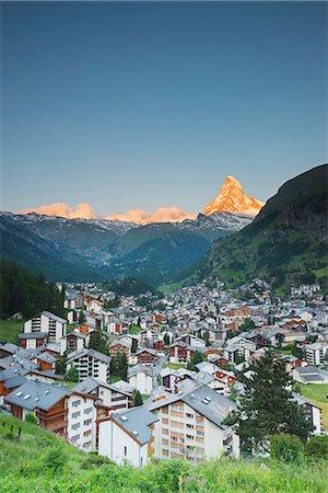 small town snow - The Matterhorn, 4478m, and Zermatt, Valais, Swiss Alps, Switzerland, Europe Stock Photo - Premium Royalty-Free, Code: 6119-07452414