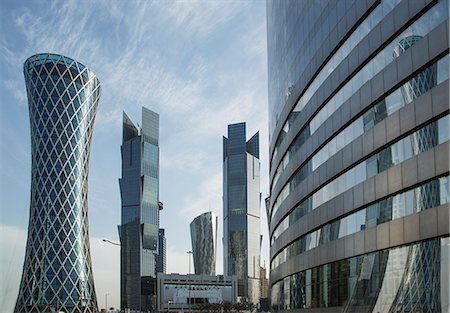 Futuristic skyscrapers downtown in Doha, Qatar, Middle East Stock Photo - Premium Royalty-Free, Code: 6119-07452736
