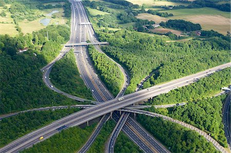 Aerial photo of M23 flyover M25, near Redhill, Surrey, England, United Kingdom, Europe Stock Photo - Premium Royalty-Free, Code: 6119-07541594