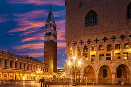 european (places and things) - Doges Palace and Campanile after sunset, Venice, UNESCO World Heritage Site, Veneto, Italy, Europe Stock Photo - Premium Royalty-Free, Code: 6119-07781241