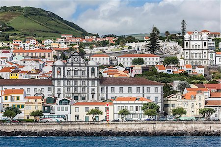 Waterfront view of the city of Horta, Faial Island, Azores, Portugal, Atlantic, Europe Stock Photo - Premium Royalty-Free, Code: 6119-07943757