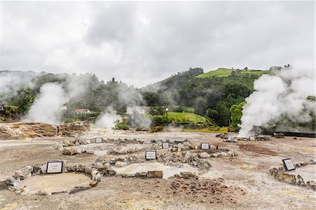Furnas Valley, a site of bubbling hot springs and fumaroles on the Azorean capital island of Sao Miguel, Azores, Portugal, Europe Stock Photo - Premium Royalty-Free, Code: 6119-07943755