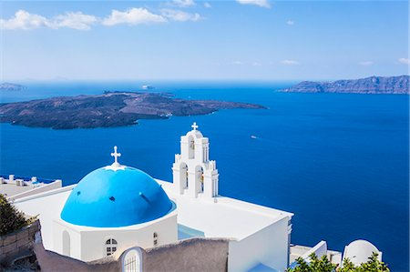 Blue dome and bell tower above Aegean Sea, St. Gerasimos church, Firostefani, Fira, Santorini (Thira), Cyclades Islands, Greek Islands, Greece, Europe Stock Photo - Premium Royalty-Free, Code: 6119-07943842