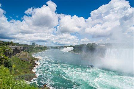 View over the America Falls and the Bridal Veil Falls, Niagara Falls, Ontario, Canada, North America Stock Photo - Premium Royalty-Free, Code: 6119-07969008