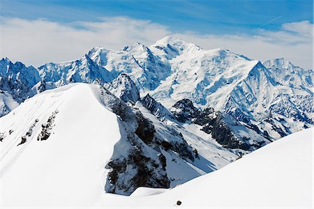 france - Mont Blanc 4810m from Mont Buet, Chamonix Valley, Rhone Alps, Haute Savoie, France, Europe Stock Photo - Premium Royalty-Free, Code: 6119-08062196