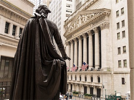 stock exchange building - New York Stock Exchange and George Washington statue, Wall Street, Manhattan, New York City, New York, United States of America, North America Stock Photo - Premium Royalty-Free, Code: 6119-08062318