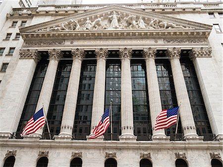 stock exchange building - New York Stock Exchange, Wall Street, Manhattan, New York City, New York, United States of America, North America Stock Photo - Premium Royalty-Free, Code: 6119-08062319