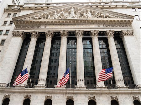stock exchange building - New York Stock Exchange, Wall Street, Manhattan, New York City, New York, United States of America, North America Stock Photo - Premium Royalty-Free, Code: 6119-08062319
