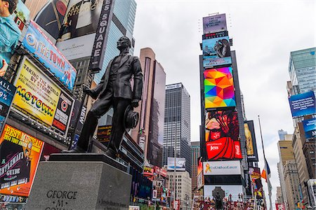 square - George M Cohan statue, Times Square, Theatre District, Midtown, Manhattan, New York City, New York, United States of America, North America Stock Photo - Premium Royalty-Free, Code: 6119-08062339