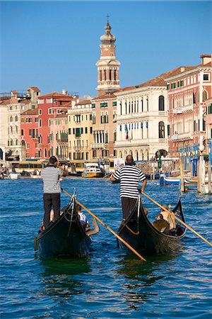 europe - Gondolas and gondoliers, palaces facades and church steeple, Grand Canal, Venice, UNESCO World Heritage Site, Veneto, Italy, Europe Stock Photo - Premium Royalty-Free, Code: 6119-08170261