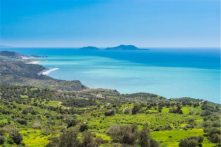 View over the south coast of Crete with its turquoise waters, Crete, Greek Islands, Greece, Europe Stock Photo - Premium Royalty-Free, Code: 6119-08126552