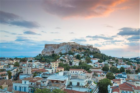 View of Plaka and The Acropolis at sunset, Athens, Greece, Europe Stock Photo - Premium Royalty-Free, Code: 6119-08242736