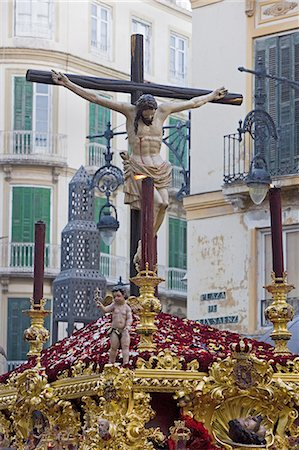 religious cross nobody - Semana Santa (Holy Week) celebrations, Malaga, Andalucia, Spain, Europe Stock Photo - Premium Royalty-Free, Code: 6119-08269255