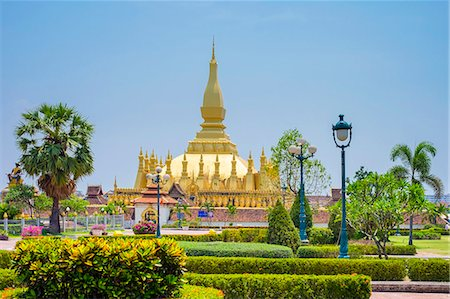 Pha That Luang golden stupa, Vientiane, Laos, Indochina, Southeast Asia, Asia Stock Photo - Premium Royalty-Free, Code: 6119-08641153