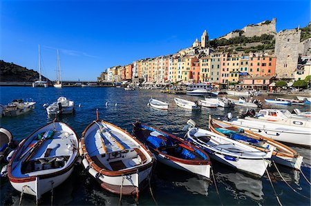 quaint - Portovenere (Porto Venere), UNESCO World Heritage Site, colourful harbourfront houses, boats and castle, Ligurian Riviera, Liguria, Italy, Europe Stock Photo - Premium Royalty-Free, Code: 6119-08797155