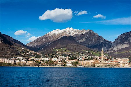 View of Lake Como and the city of Lecco framed by snowy peaks, Italian Lakes, Lombardy, Italy, Europe Stock Photo - Premium Royalty-Free, Code: 6119-08797200