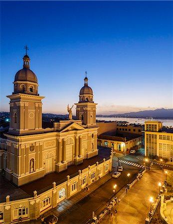 Nuestra Senora de la Asuncion Cathedral at Parque Cespedes, Santiago de Cuba, Cuba, West Indies, Caribbean, Central America Stock Photo - Premium Royalty-Free, Code: 6119-08703742